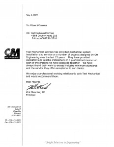 LETTER OF RECOMMENDATION - CM ENGINEERING