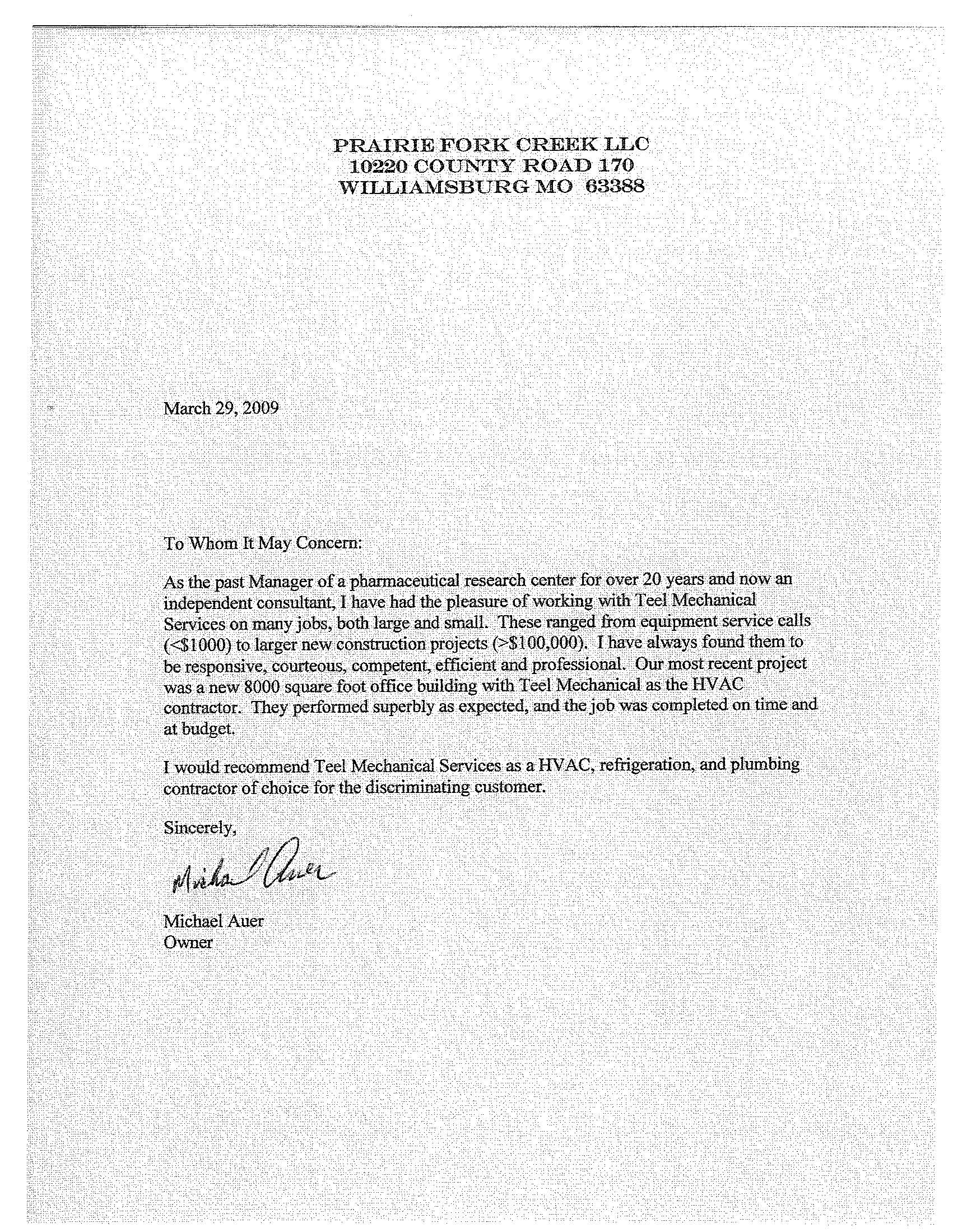 LETTER OF RECOMMENDATION – MIKE AUER